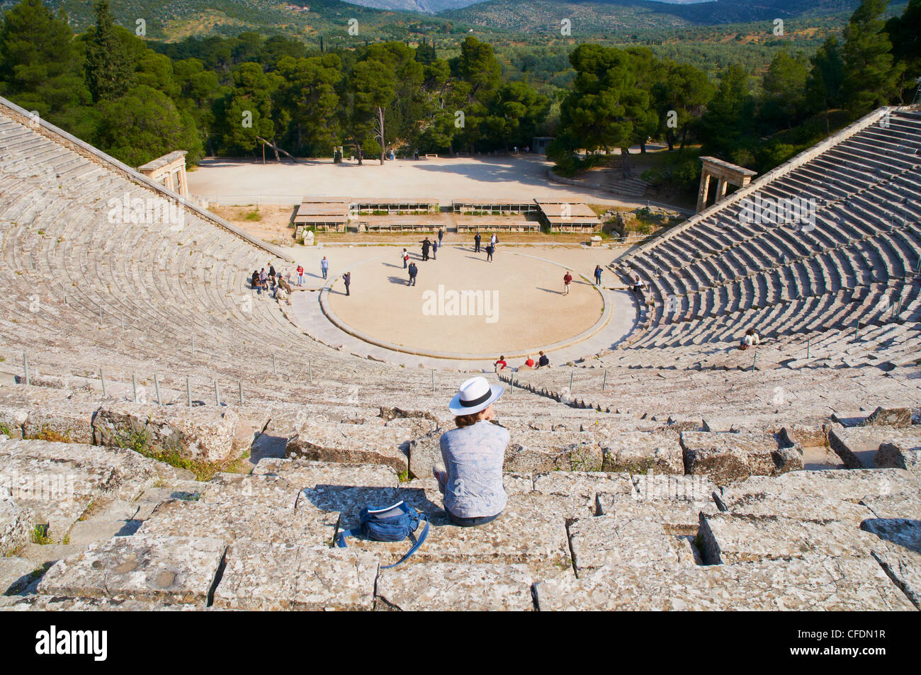 Ancient theatre, Epidaurus, Peloponnese, Greece, Europe - Stock Image