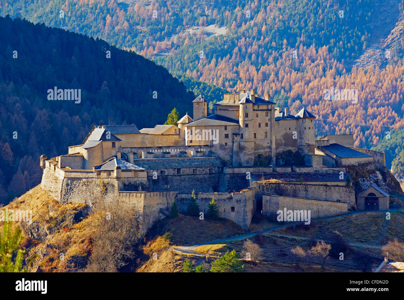 Village of Chateau-Queyras, Parc Naturel Regional du Queyras (Regional Park of Queyras), Hautes-Alpes, France, Europe - Stock Image
