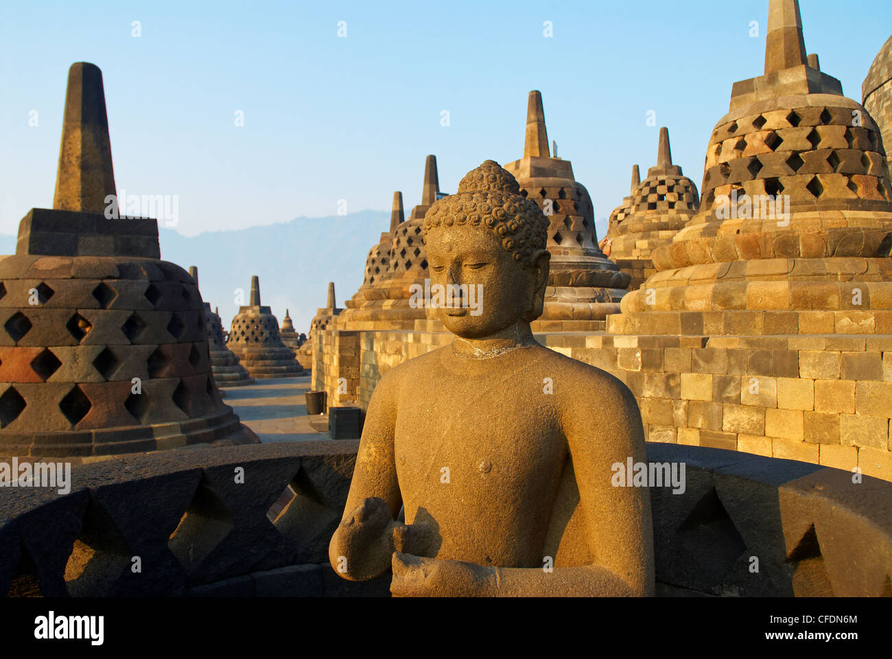 Borobudur, Buddhist archaeological site dating from the 9th century, UNESCO World Heritage Site, Java, Indonesia, - Stock Image