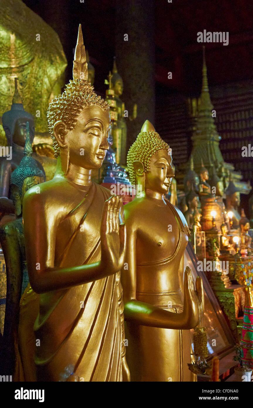 Statues of Buddha, Vat Mai Suvannaphumaham, Luang Prabang, UNESCO World Heritage Site, Laos, Indochina, Southeast - Stock Image
