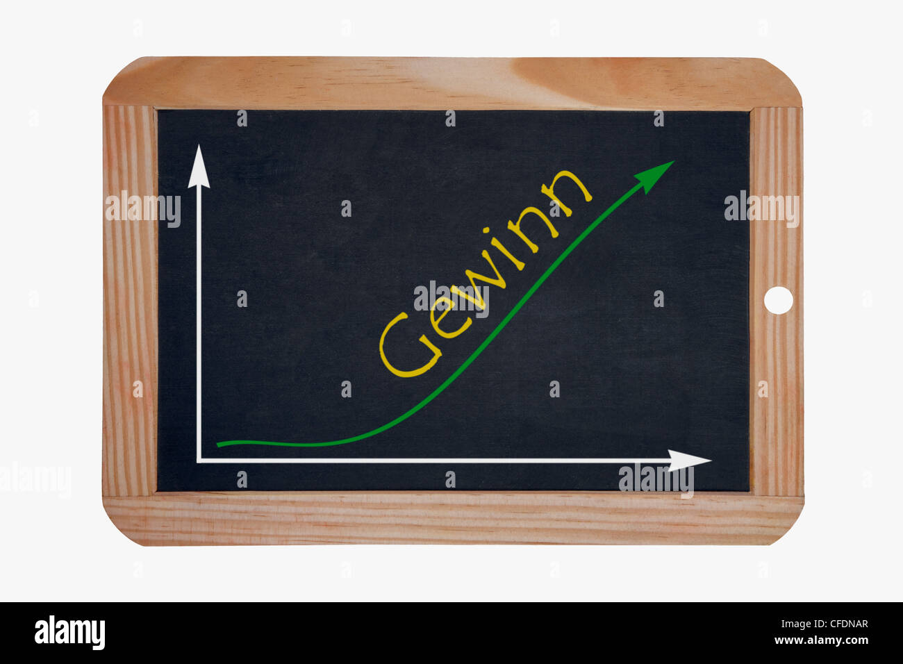 Detail photo of a chalkboard, a chart with an increasing curve on this, beside the word gain is written in German - Stock Image