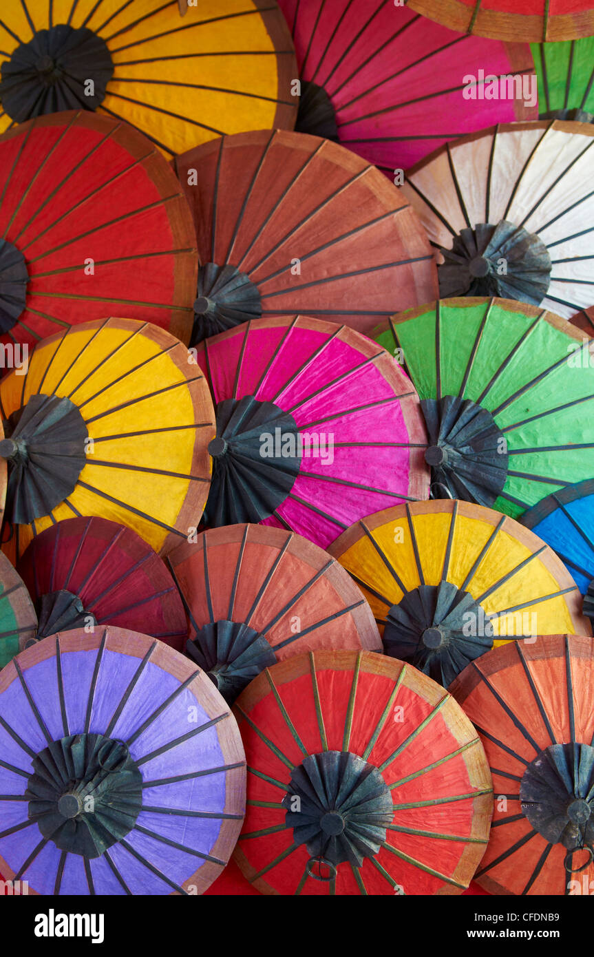 Handmade paper umbrellas in the night market, Luang Prabang, Laos, Indochina, Southeast Asia, Asia - Stock Image