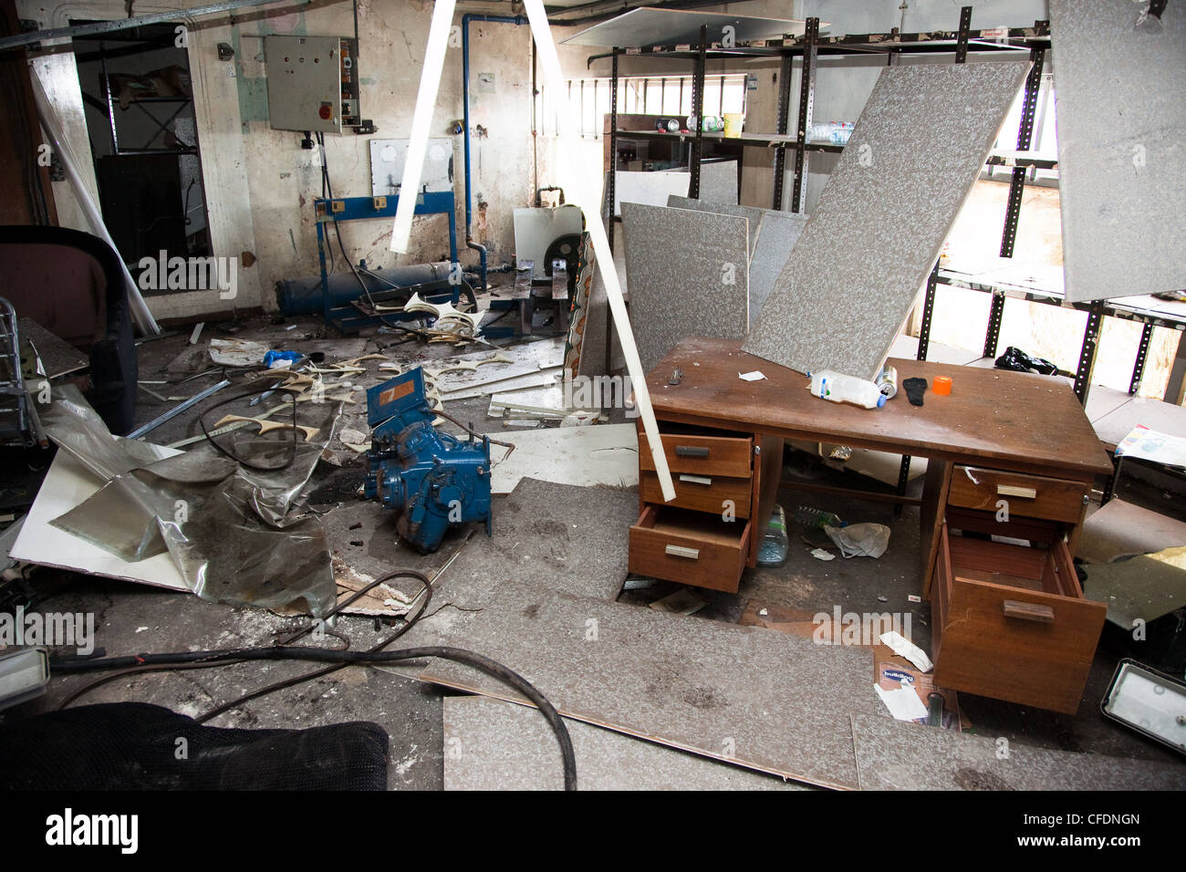 Seven sisters Tottenham London UK. Ruined office in vacated cold storage warehouse. Now inhabited by homeless people. & Seven sisters Tottenham London UK. Ruined office in vacated cold ...