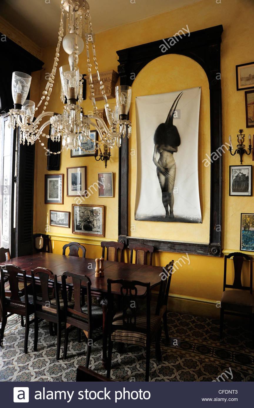 Interior decoration of restaurant Paladar La Guarida, city center of Havana, Centro Habana, Cuba, Greater Antilles, - Stock Image