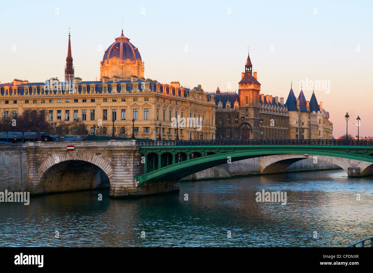 The Conciergerie on the Cite Island, the banks of the River Seine, UNESCO World Heritage Site, Paris, France, Europe - Stock Image
