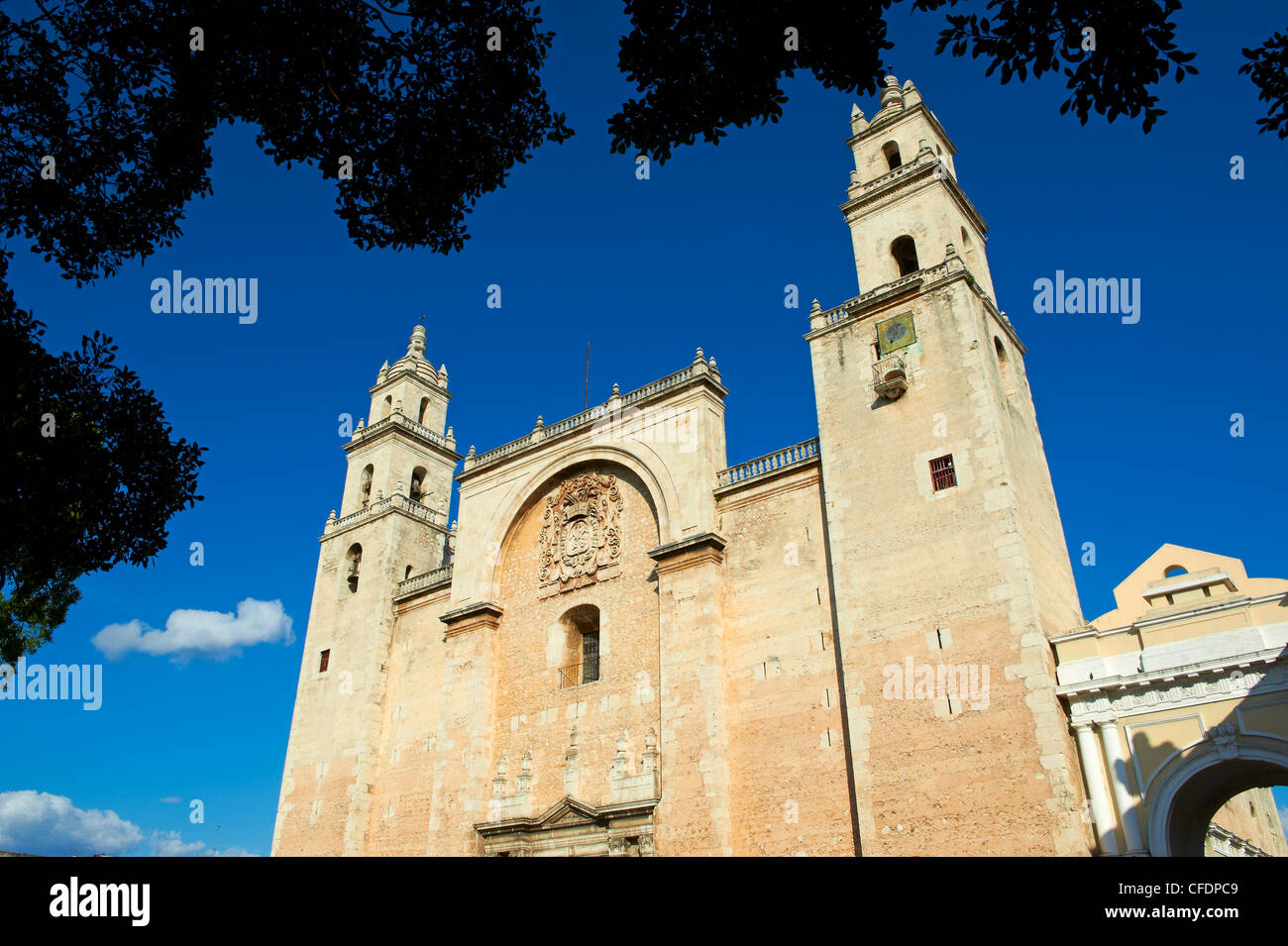 The Cathedral, Independence Square, Merida, Yucatan state, Mexico, - Stock Image