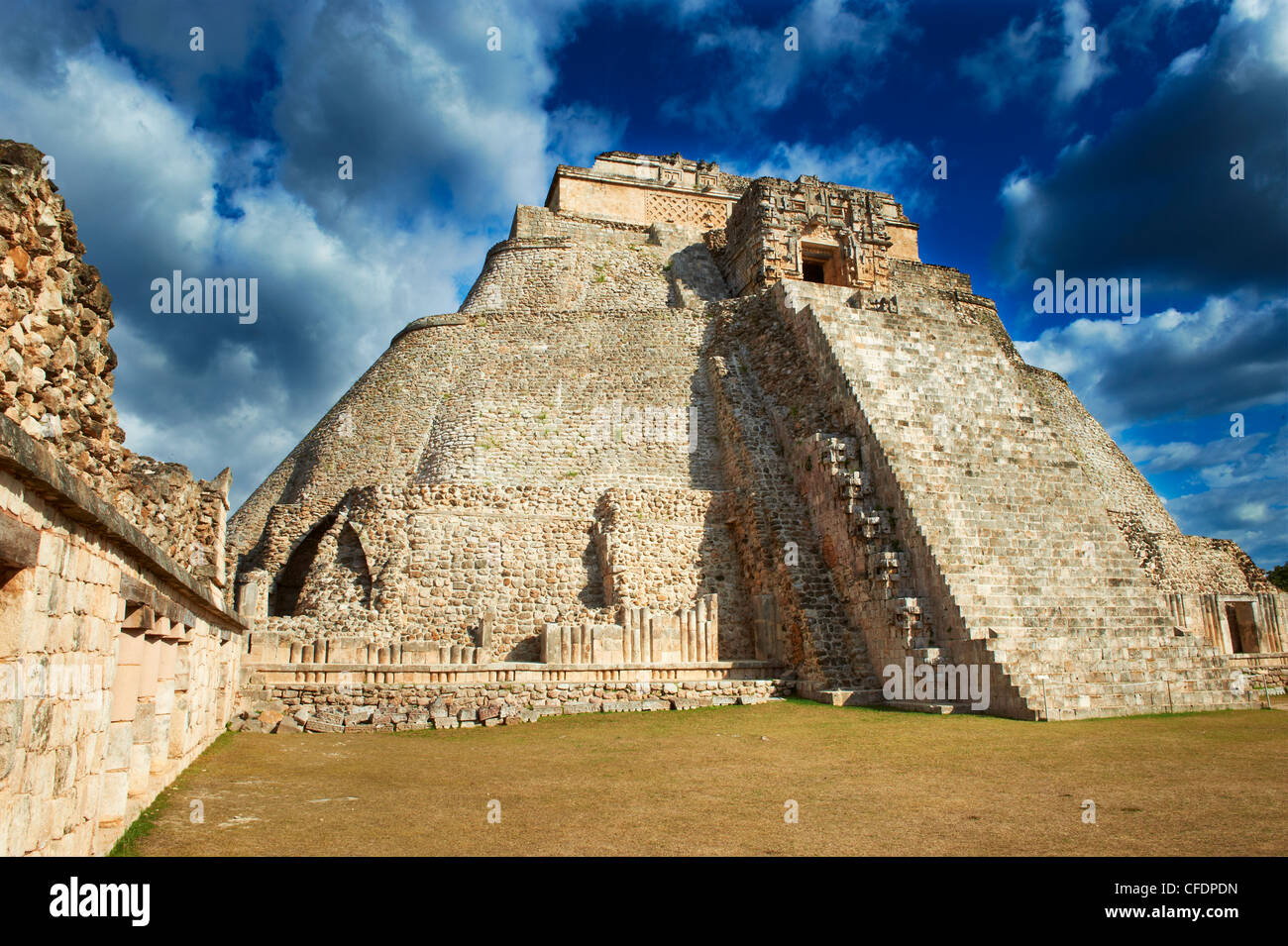 Pyramid of the Magician, Mayan archaeological site, Uxmal, UNESCO World Heritage Site, Yucatan State, Mexico, Stock Photo