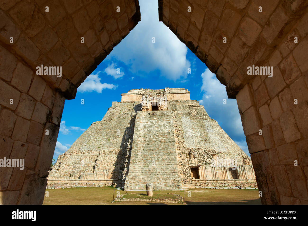 Pyramid of the Magician, Mayan archaeological site, Uxmal, UNESCO World Heritage Site, Yucatan State, Mexico, - Stock Image
