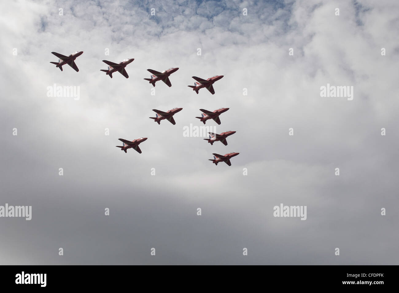Red Arrows famous RAF aerobatic display team. - Stock Image