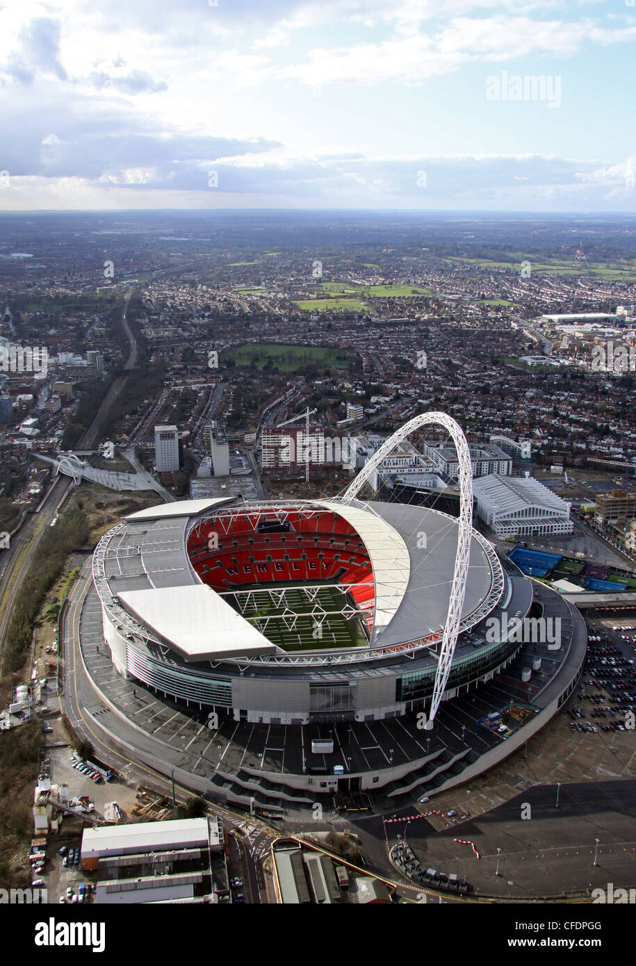 Aerial image of Wembley Stadium, London - Stock Image