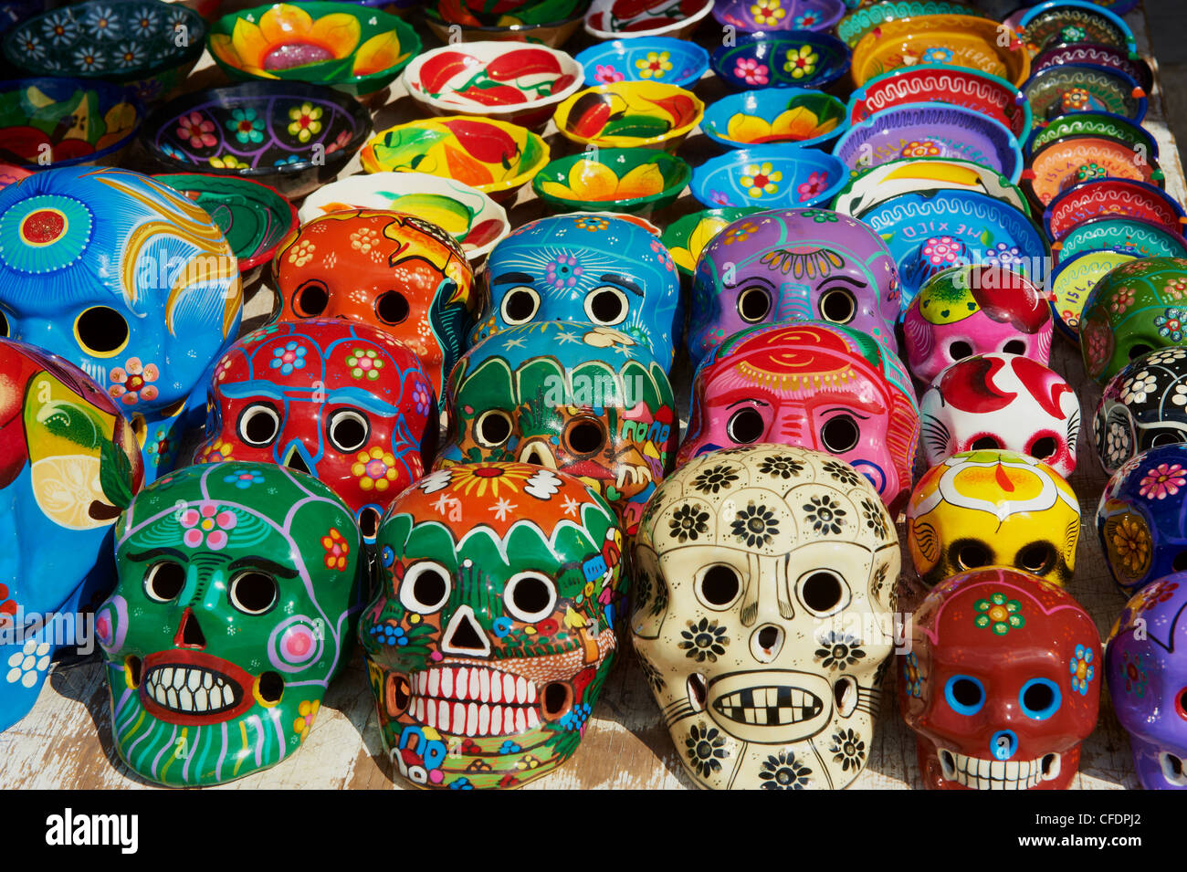 Handicrafts, masks for sale, Cancun, Quintana Roo, Mexico, - Stock Image