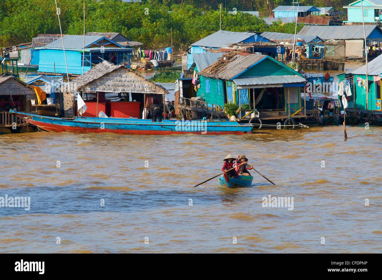 Floating Vietnamese village, Lake Tonle Sap, Biosphere Reserve of UNESCO, Siem Reap, Cambodia, Indochina, Southeast - Stock Image
