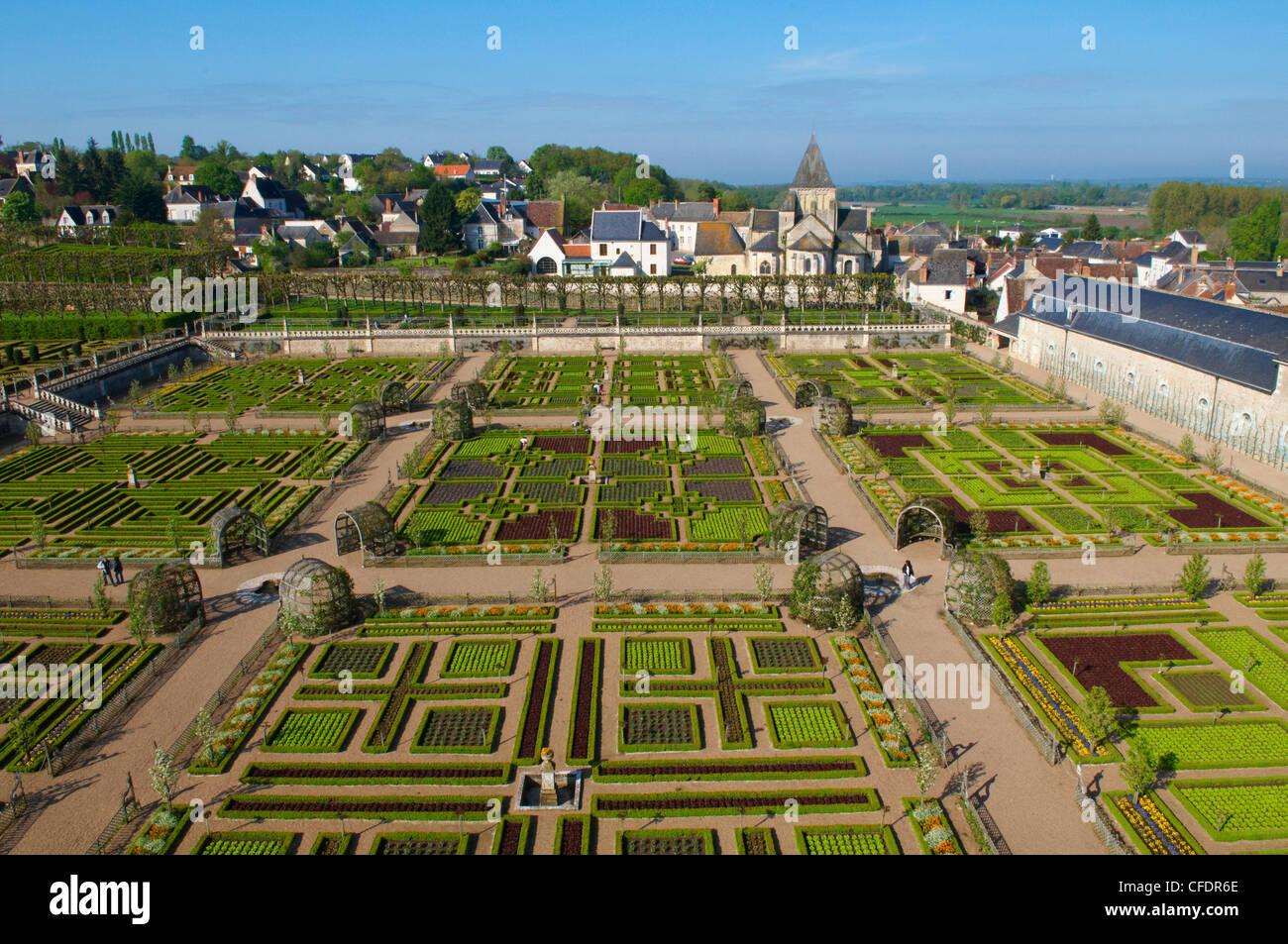 Formal garden at the Chateau de Villandry, UNESCO World Heritage Site, Loire Valley, Indre et Loire, France, Europe - Stock Image