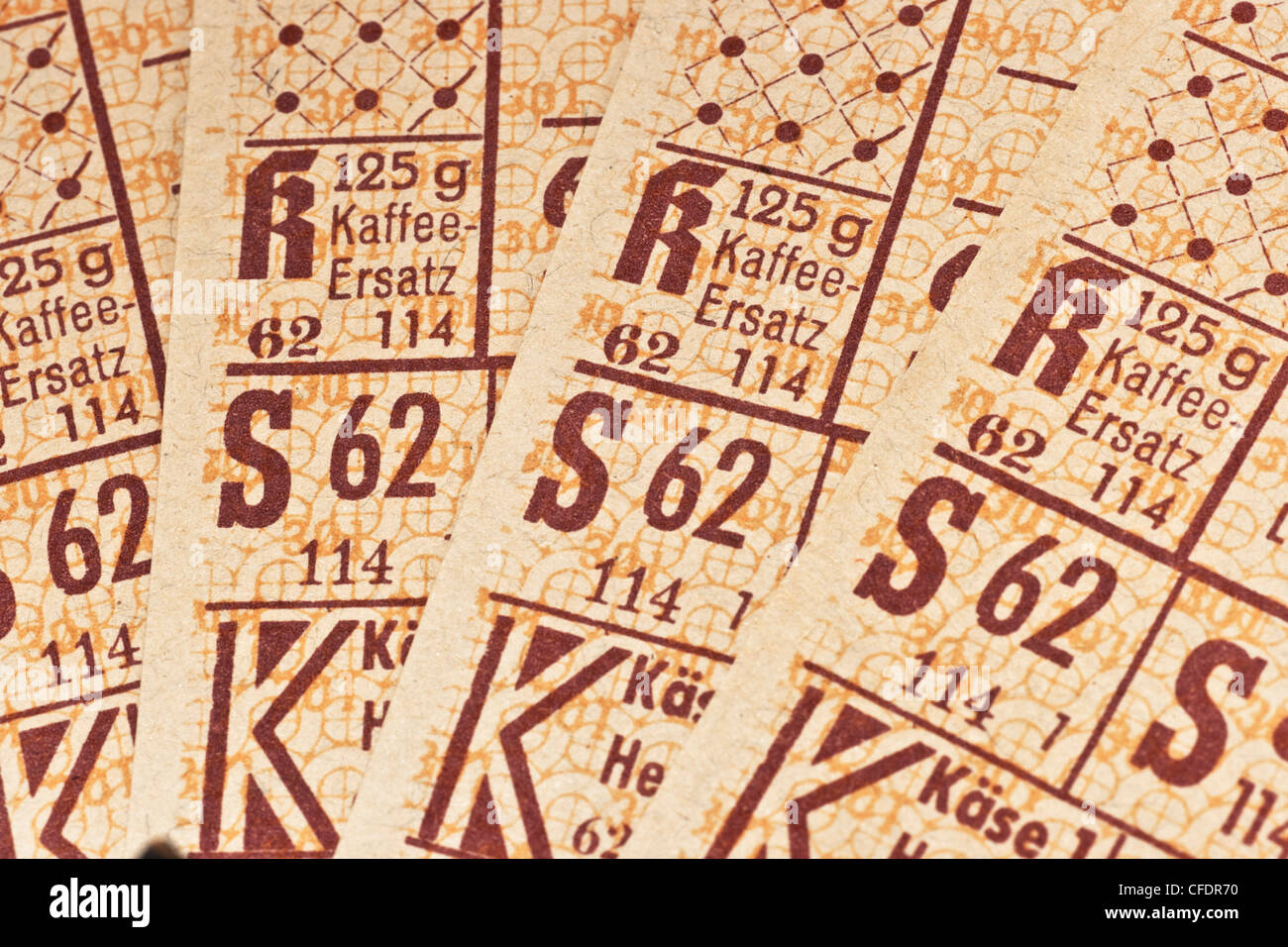 coffee substitute food ration cards, Hesse 1948, Bizone, Germany - Stock Image