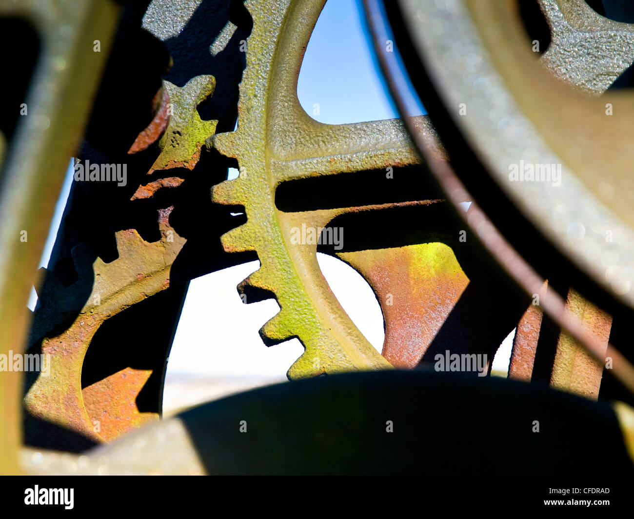 redundant machinery at the Magpie Mine in Derbyshire - Stock Image