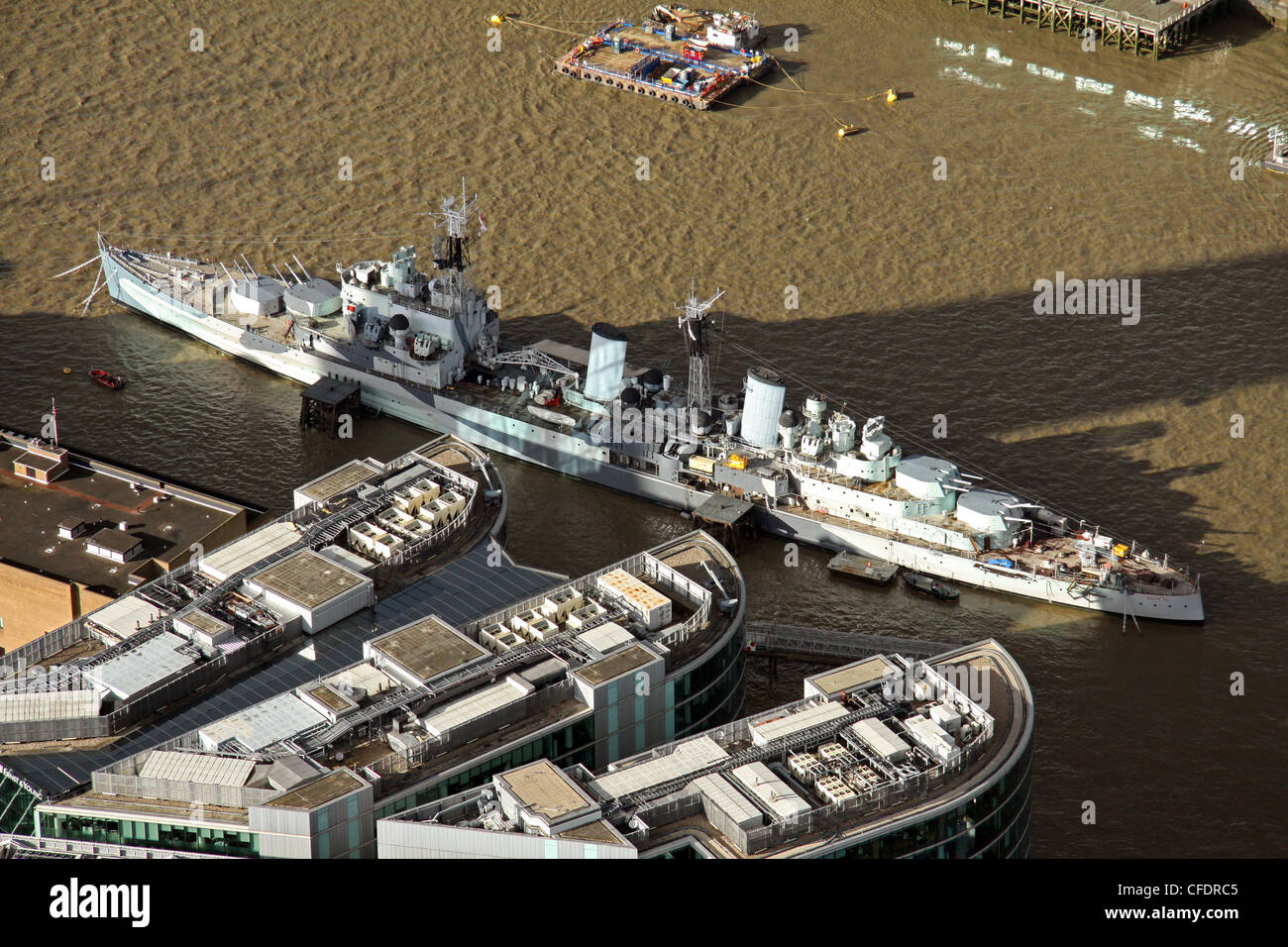 Aerial view of HMS Belfast in The Thames, London - Stock Image