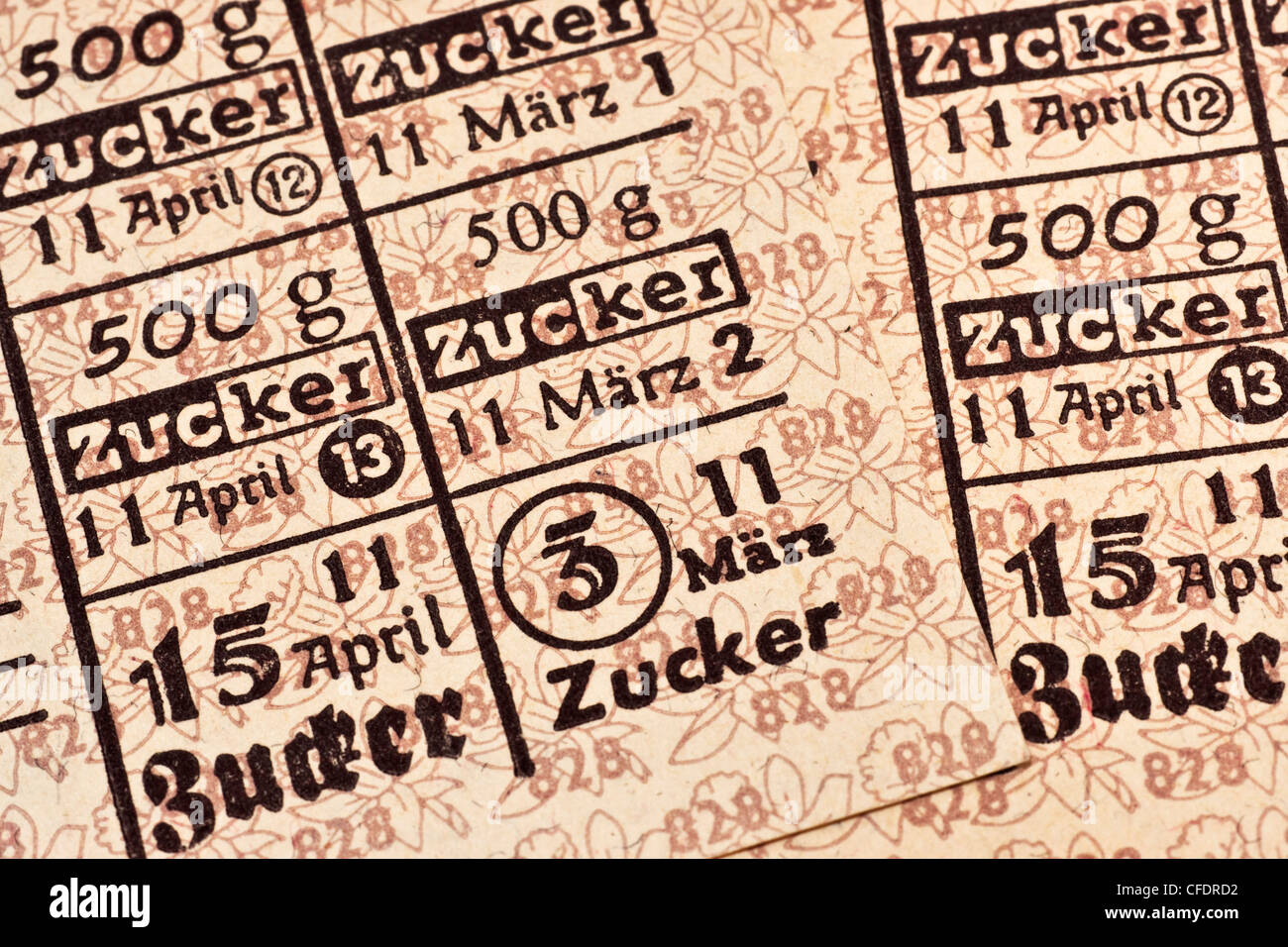 Detail photo of food ration cards, Lower Saxony, March to April 1950, Federal Republic of Germany - Stock Image