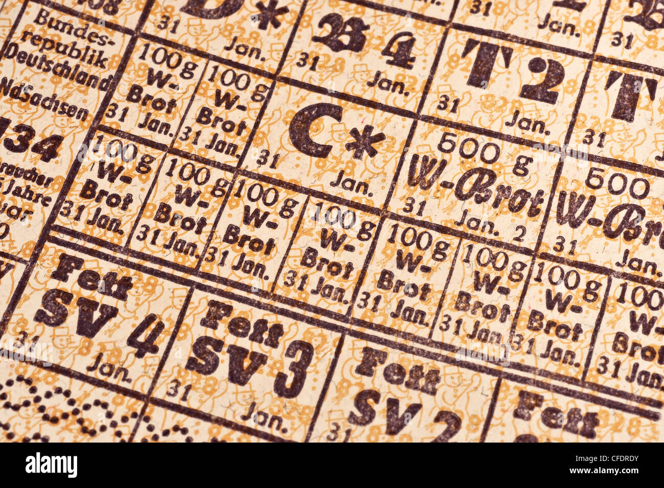 Detail photo of food ration cards, Lower Saxony, January 1950, Federal Republic of Germany - Stock Image