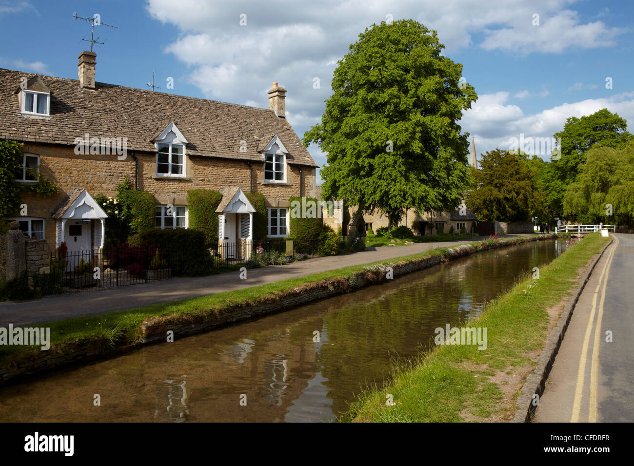 A summer day at the Cotswolld village of Lower Slaughter, Gloucestershire, The Cotswolds, England, United Kingdom, - Stock Image