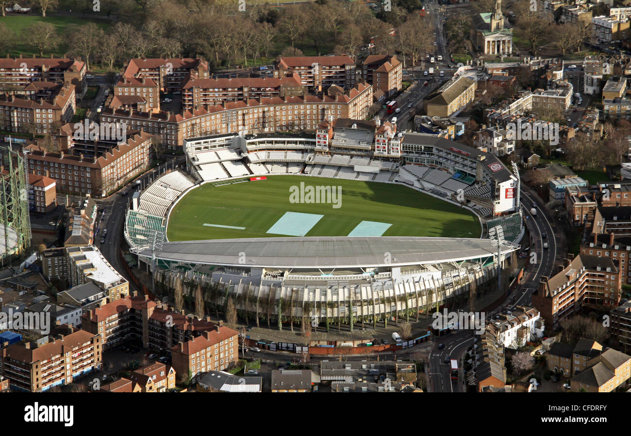 Aerial image of The Kia Oval cricket ground in South London - Stock Image