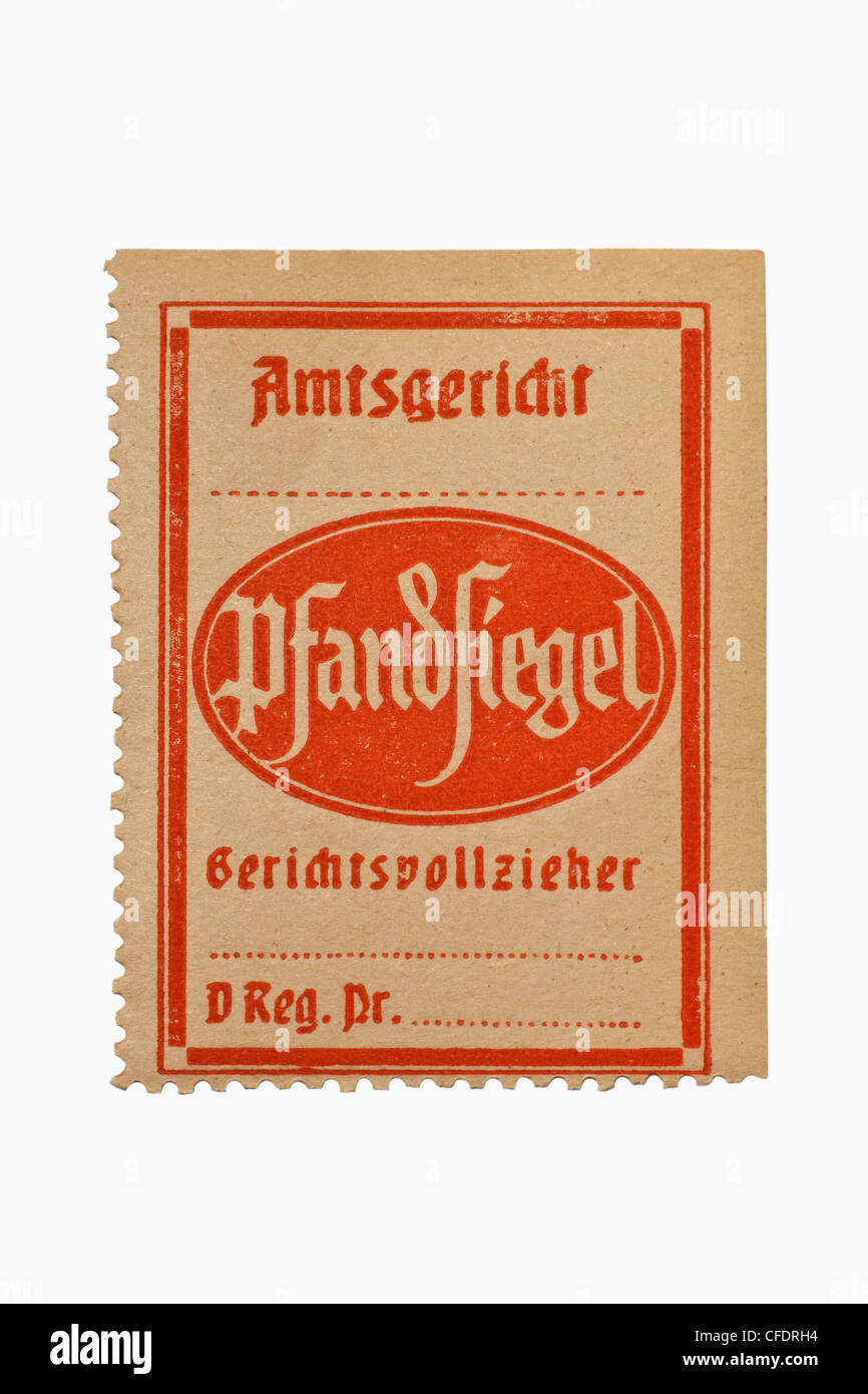 Detail photo of a bailiff's seal for distraint of goods, of approx. 1960, Germany - Stock Image