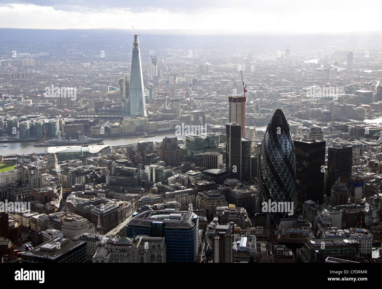 Aerial view of the Shard and Gherkin - Stock Image