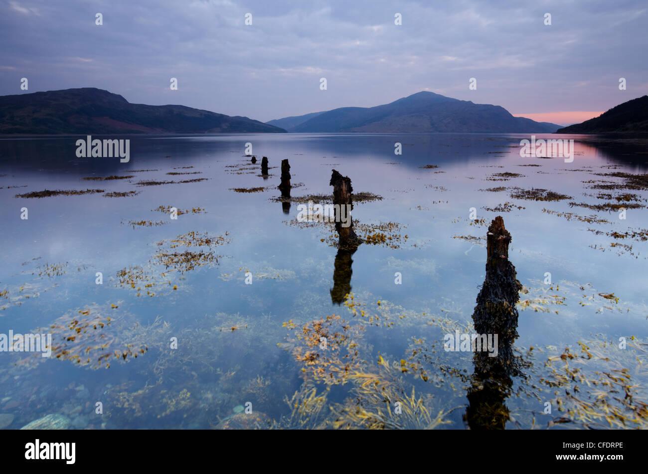 A view of Loch Alsh taken at the shoreline near Kirkton, Lochalsh, Scotland, United Kingdom, Europe - Stock Image