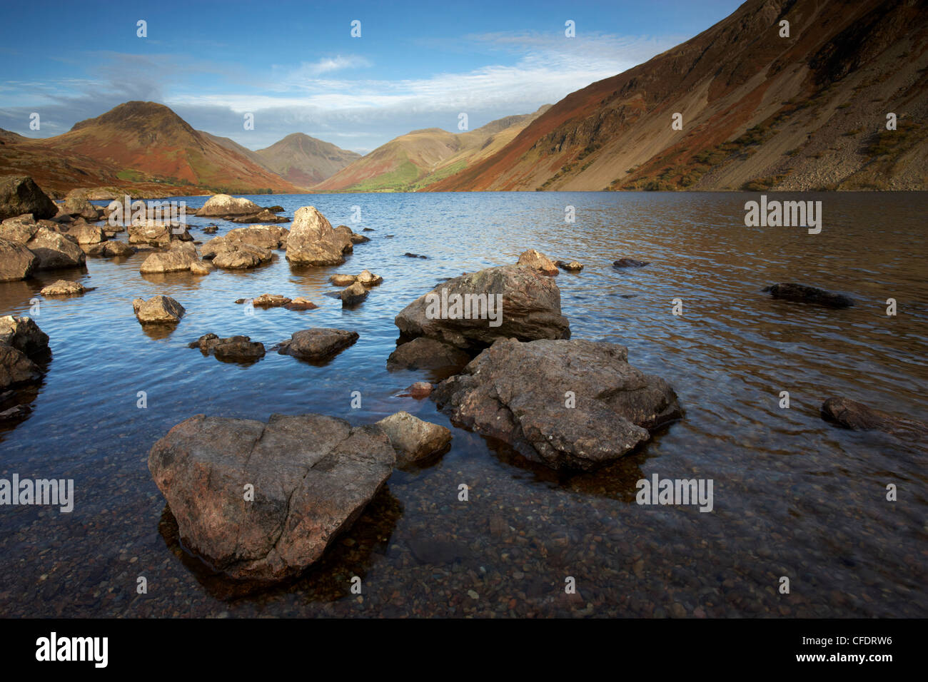 An autumn evening at Wastwater in the Lake District National Park, Cumbria, England, United Kingdom, Europe - Stock Image