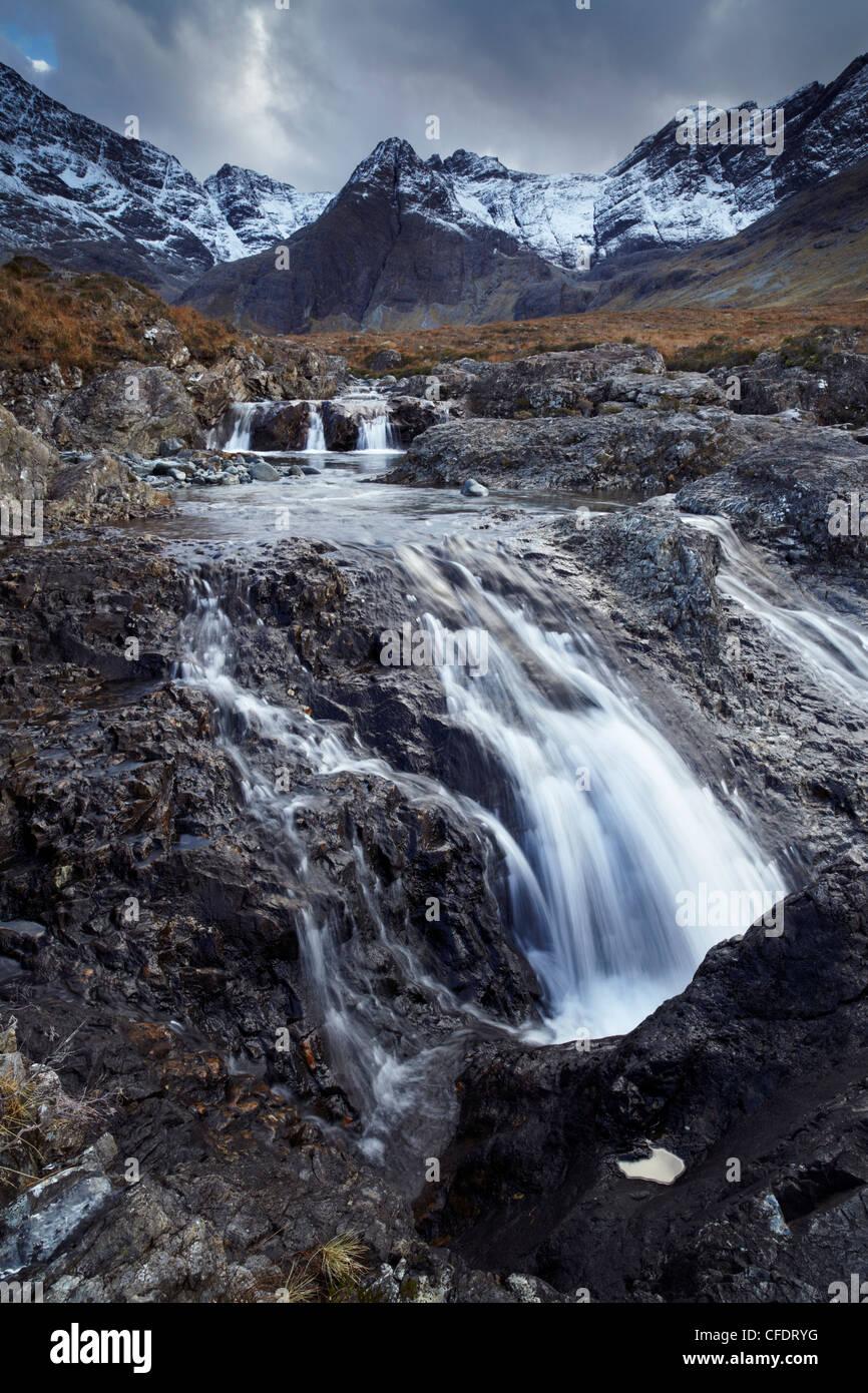 The Cuillin mountains,,the Allt Coir a Mhadhaidh on the Fairy Pools walk, Glen Brittle, Isle of Skye, Scotland, - Stock Image
