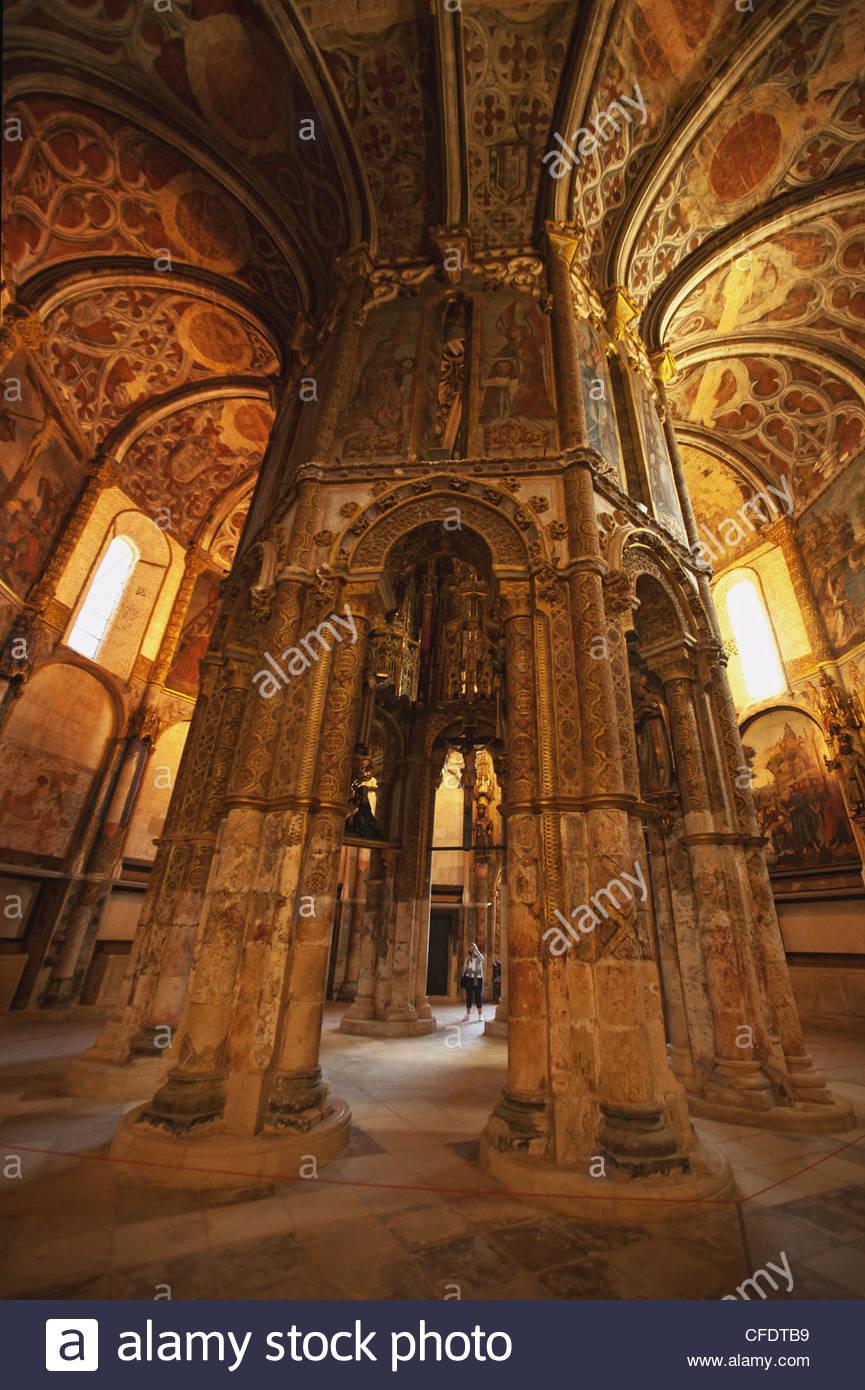 Sanctuary of Convento de Cristo (Castle of the Knights Templar), Tomar, Portugal - Stock Image
