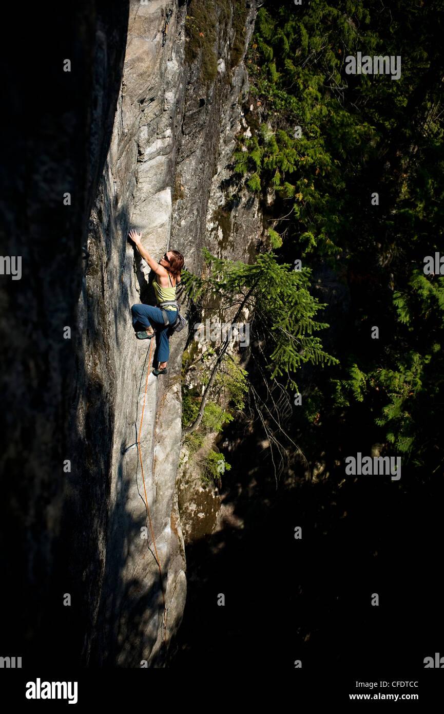 Sport Climber on Zoe, Murrin Park, Squamish, British Columbia, Canada Stock Photo