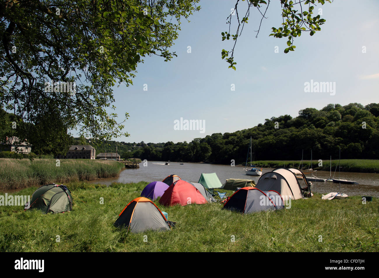 Camping at Cothele Quay, River Tamar, Cornwall, England, United Kingdom, Europe - Stock Image