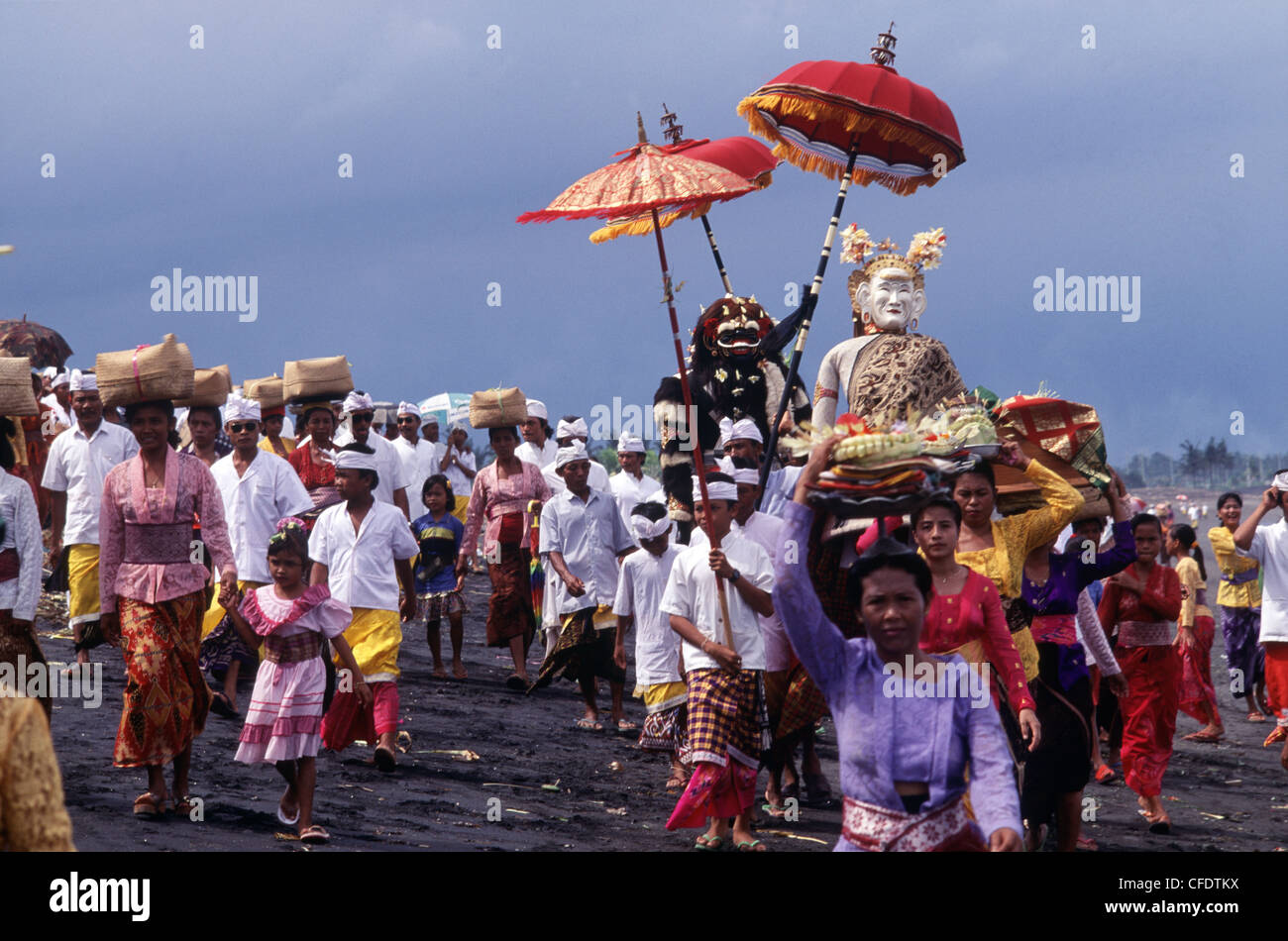 Melasti, a purification ceremony in Bali, Indonesia, Southeast Asia, Asia - Stock Image