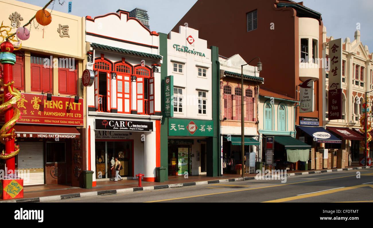 Shophouses in South Bridge Road, Chinatown, Singapore, Southeast Asia, Asia - Stock Image
