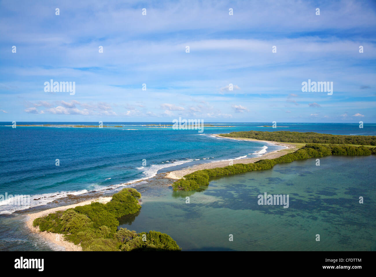 View of Gran Roque, Archipelago Los Roques National Park, Venezuela, South America - Stock Image