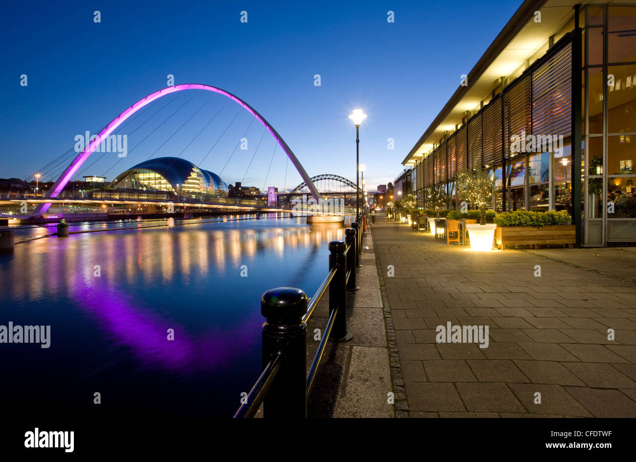 Newcastle Quayside, Gateshead Millennium Bridge and the Arched Bridge, Newcastle-upon-Tyne, Tyne and Wear, England, - Stock Image