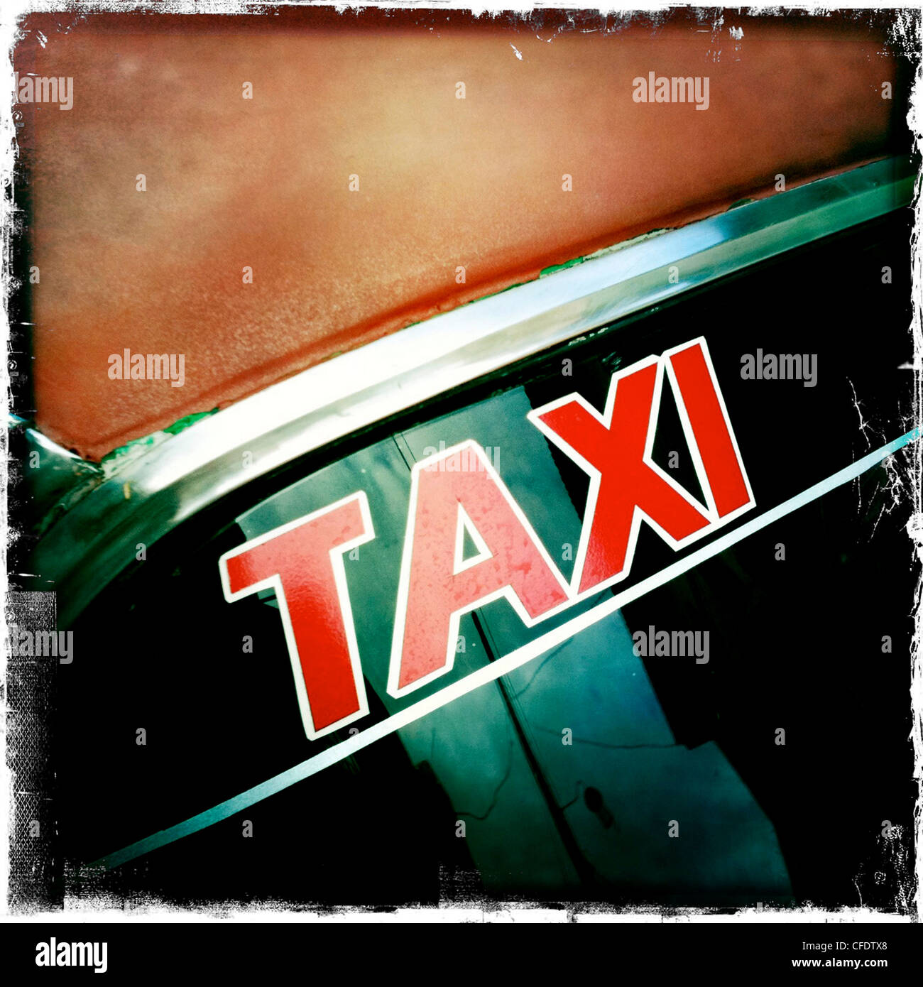 Taxi sign on windscreen of classic American car, Trinidad, Cuba, West Indies, Caribbean, Central America - Stock Image