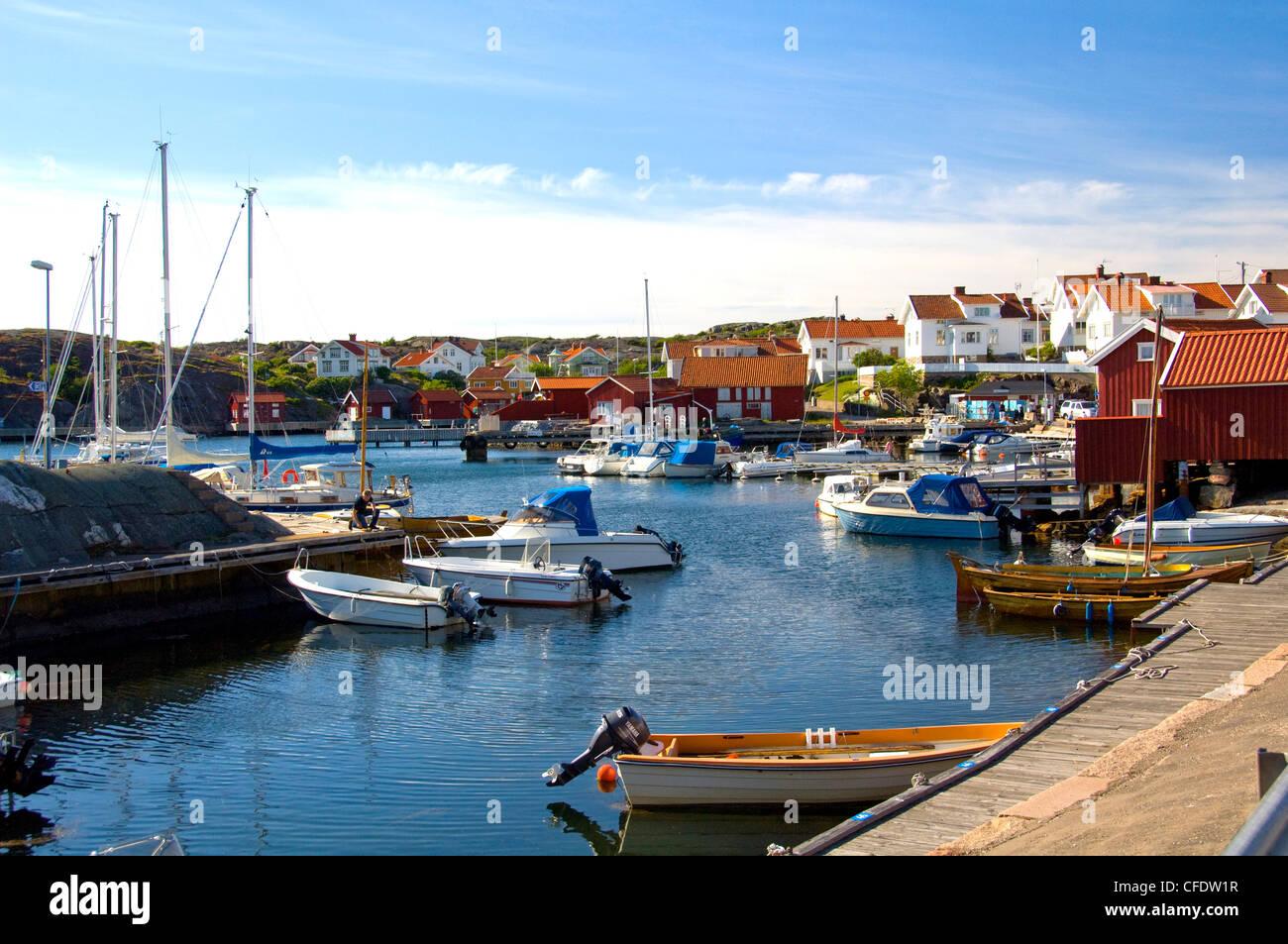 Harbour, Halleviksstrand, Stocken, Orust Island, West Gotaland, Sweden, Scandinavia, Europe - Stock Image