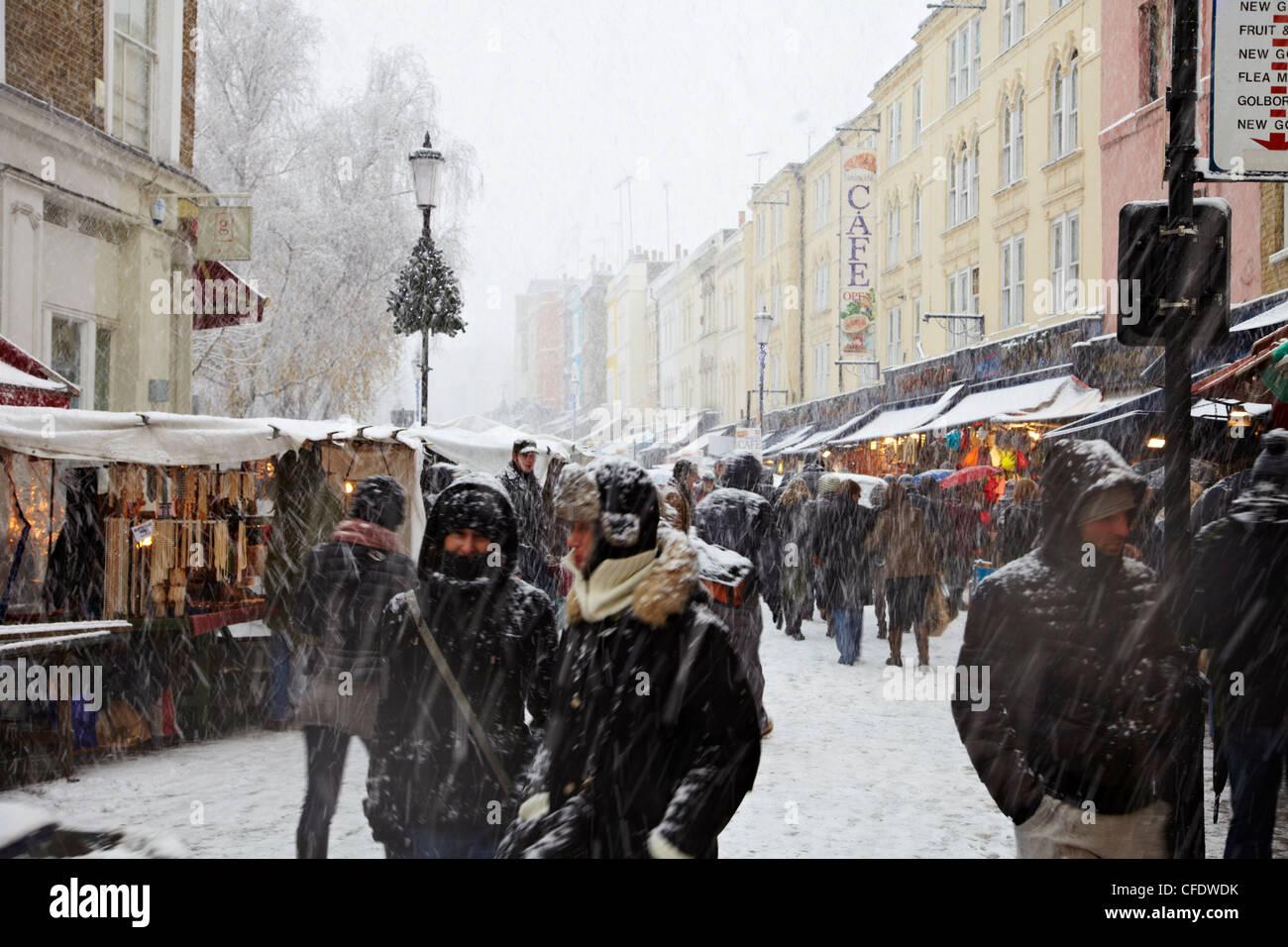Portobello Road Market in snow, Notting Hill, London, England, United Kingdom, Europe - Stock Image