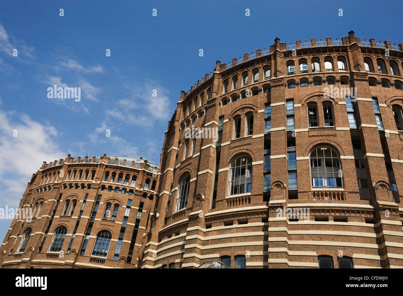 Gasometers converted into an urban city, Gasometer City, Simmering, Vienna, Austria, Europe - Stock Image
