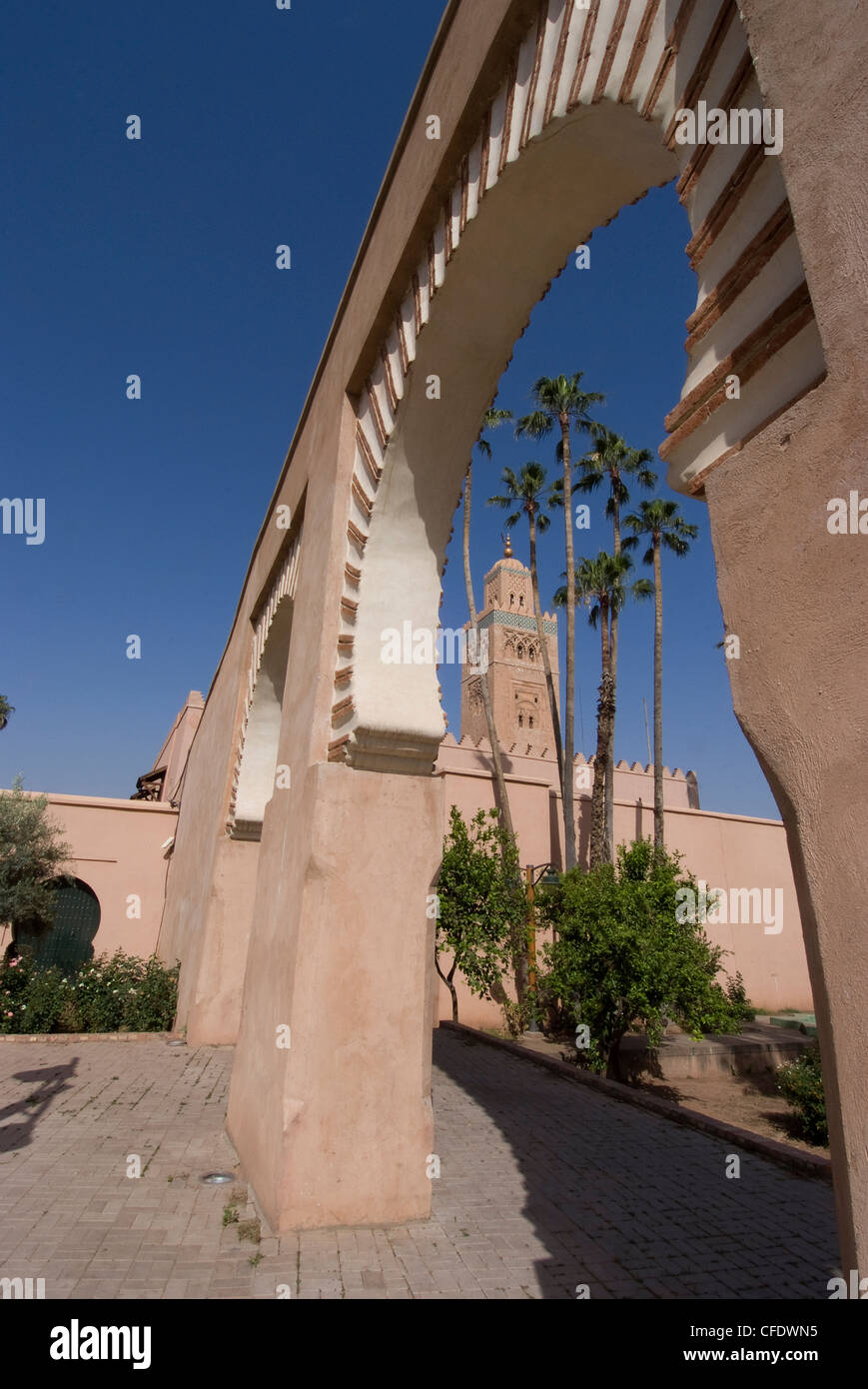 The Koutoubia Mosque (Booksellers' Mosque), the landmark of Marrakech, Morocco, North Africa, Africa - Stock Image