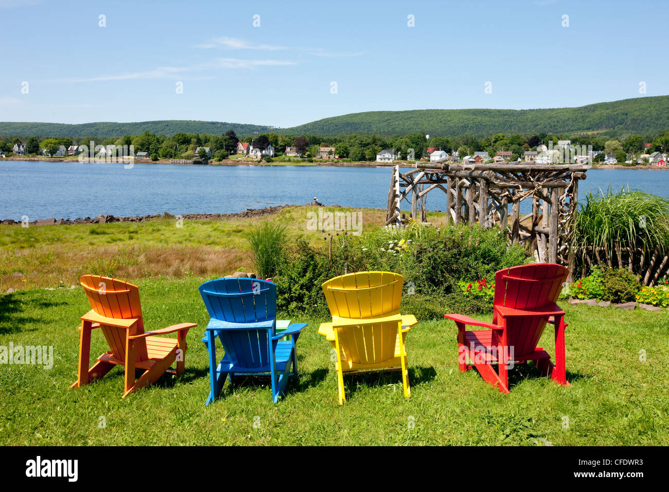 Colorfull Lawn Chairs, Annapolis Royal, Nova Scotia, Canada   Stock Image