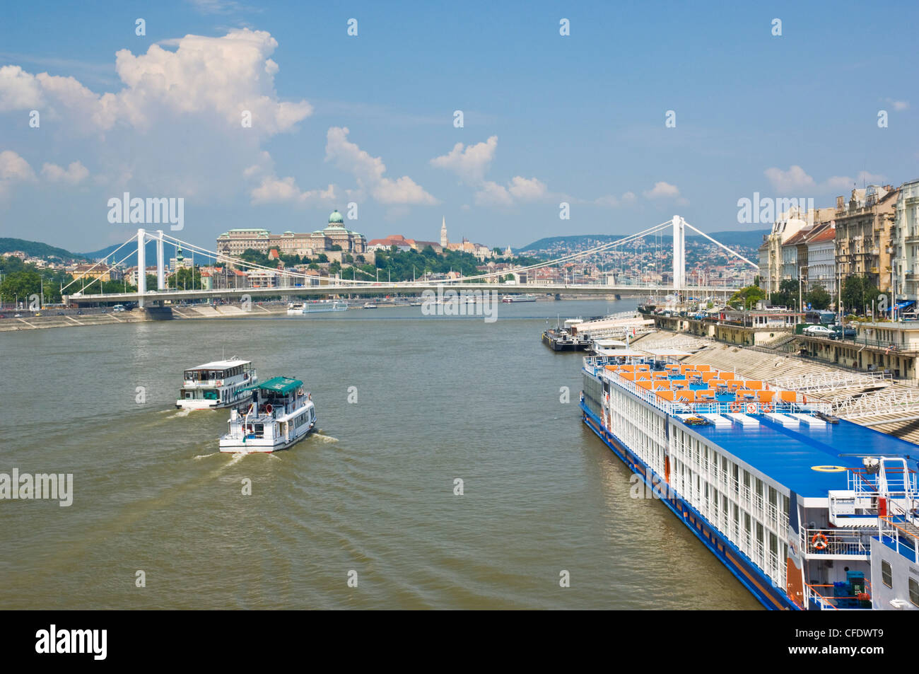 View of Elizabeth Bridge (Erzebet hid), and cruise boats on the River Danube, Budapest, Hungary, Europe - Stock Image