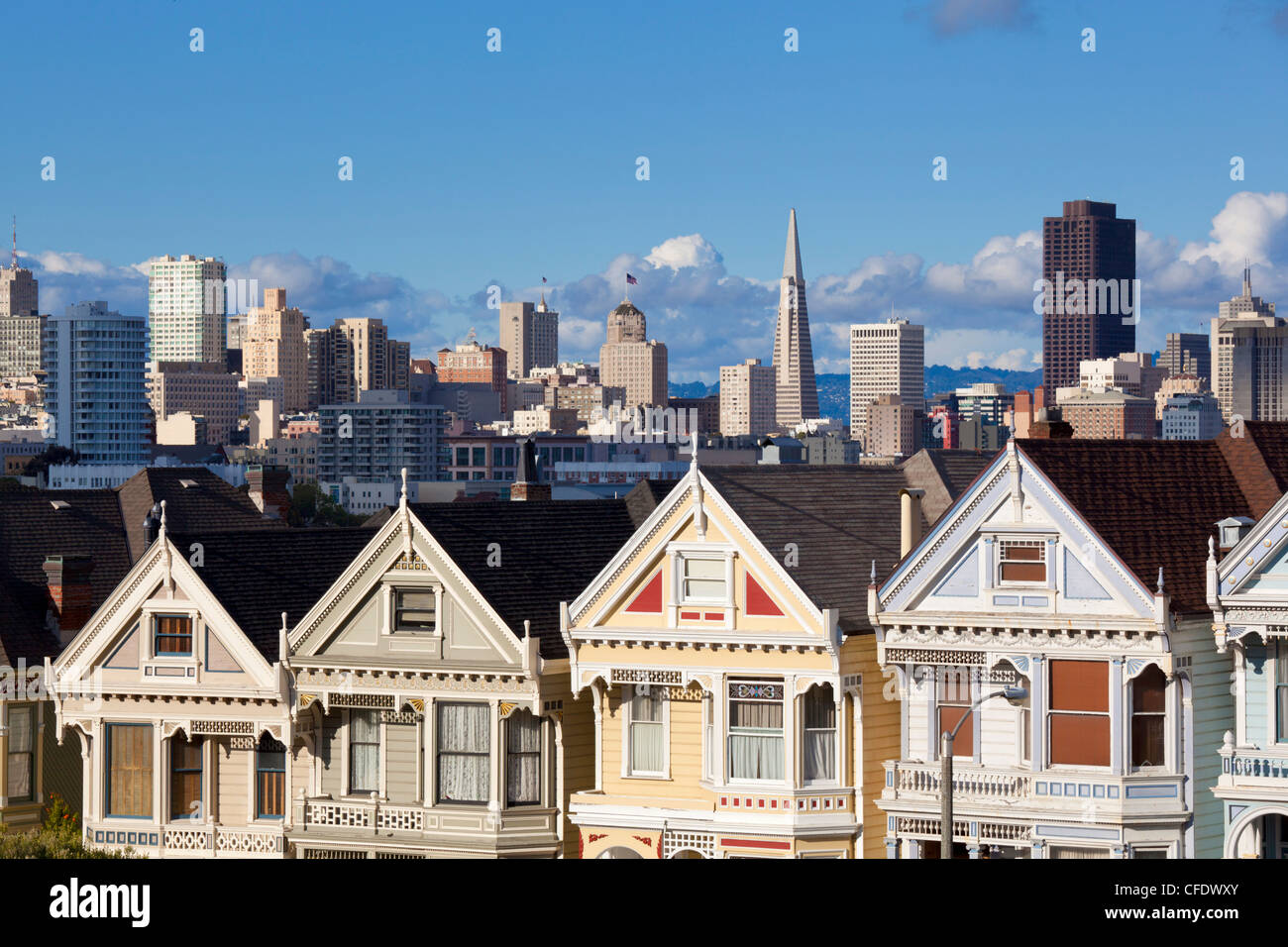 The famous Painted Ladies, San Francisco, California, USA - Stock Image