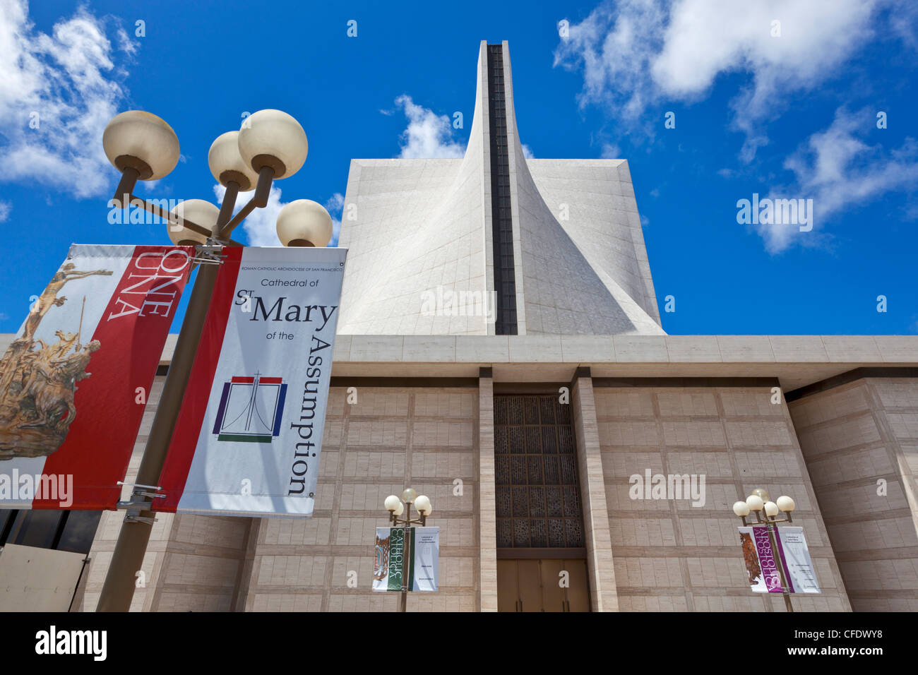 St. Mary's cathedral (The Cathedral of St. Mary of the Assumption), a Catholic cathedral, San Francisco, California, - Stock Image
