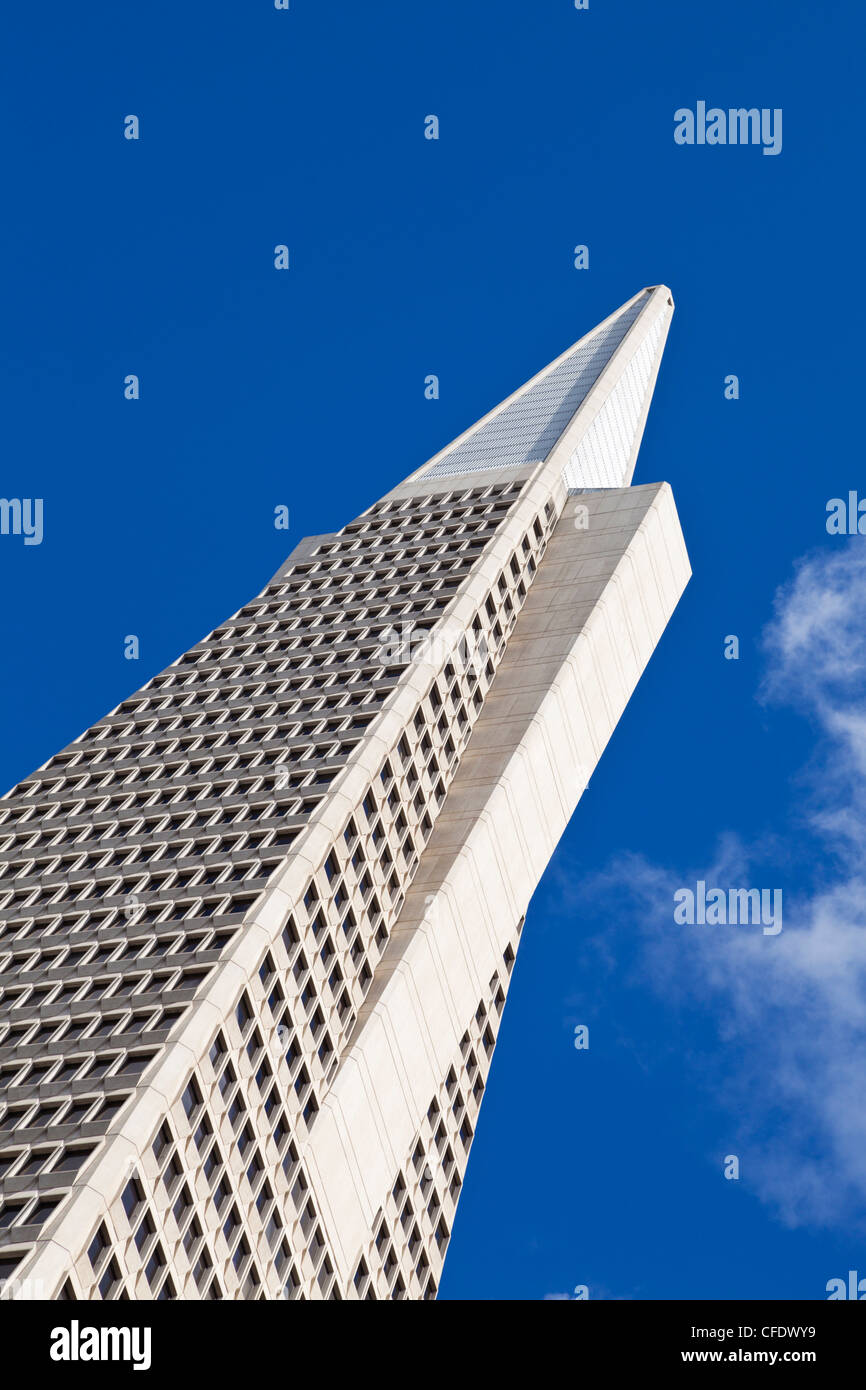 The Transamerica Pyramid, the city's most recognizable landmark in the Financial District, San Francisco, California, - Stock Image