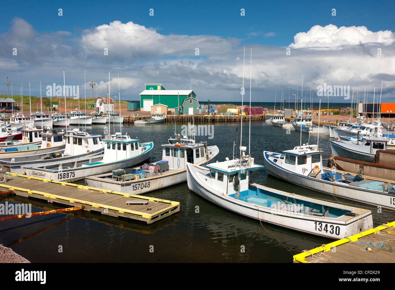 Fishing boats tied up at Seacow Pond, Prince Edward Island, Canada - Stock Image