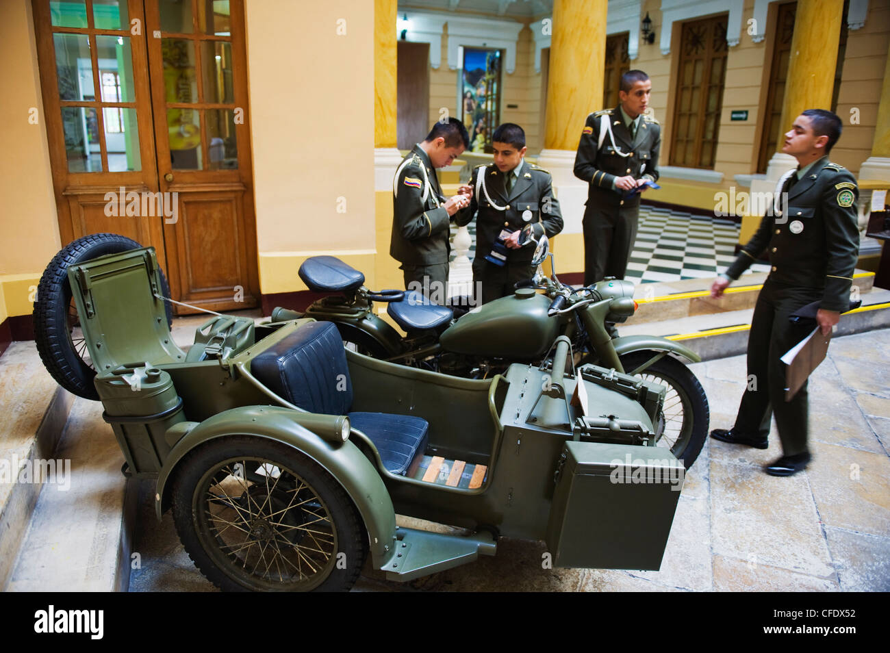Policemen and motorbike display, Police Museum, Bogota, Colombia, South America - Stock Image
