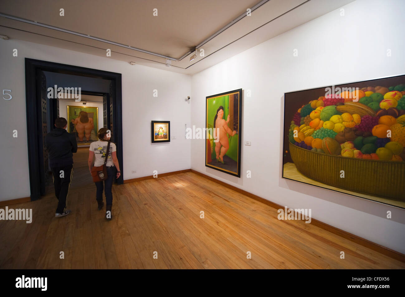 Pantings in the Botero Museum, art work by Fernando Botero, Bogota, Colombia, South America - Stock Image