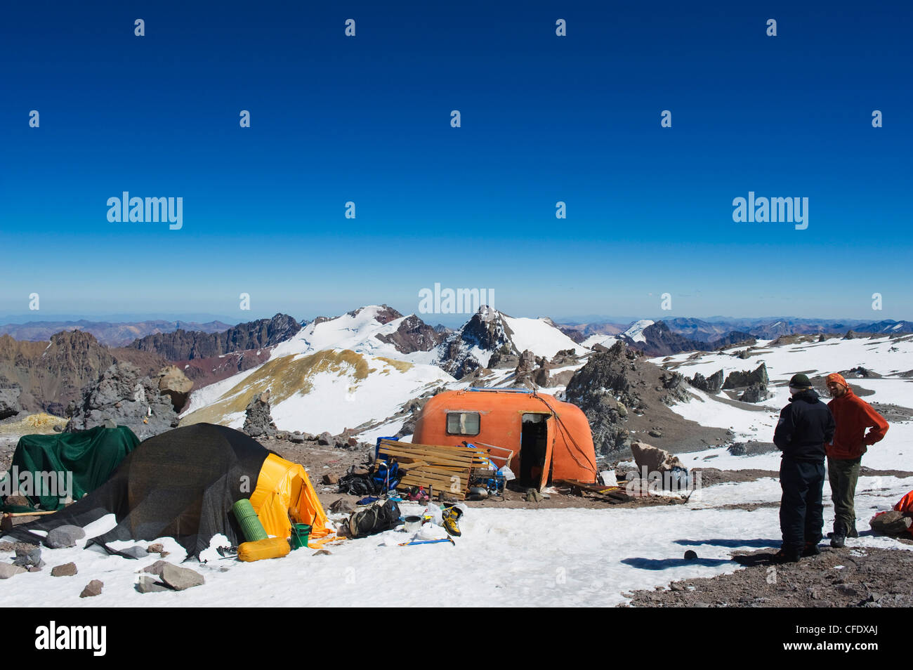 Nido del Condores campsite on Aconcagua, Aconcagua Provincial Park, Andes mountains, Argentina - Stock Image